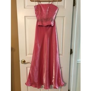 Beautifully Two Piece Corset Baby Pink Bead Gown